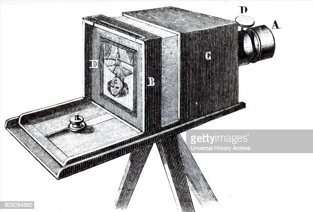 Engraving depicting a camera used to take daguerreotype photographs invented by Louis Daguerre Louis Daguerre a French artist inventor and...