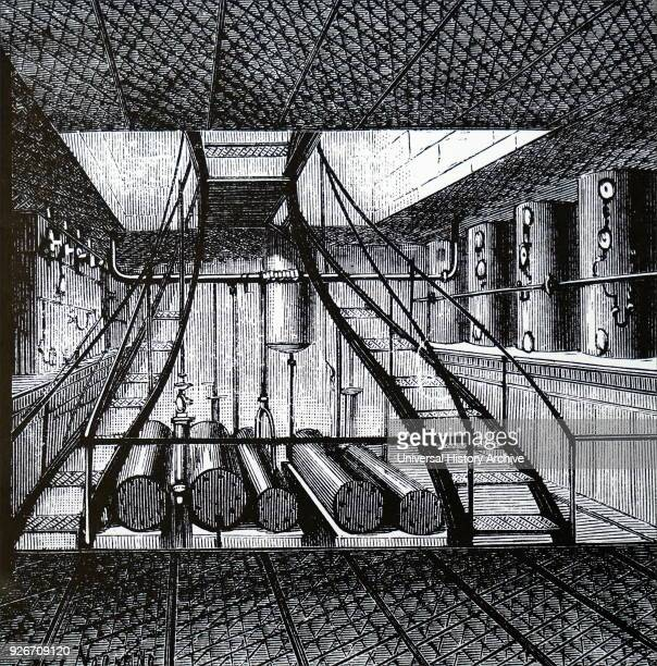 Engraving depicting a cold storage room on a refrigerated ship showing men handling sides of meat Dated 19th century
