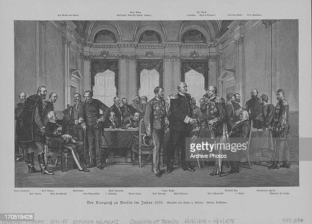 Engraving depicting a Congressional meeting in Berlin, 1878.