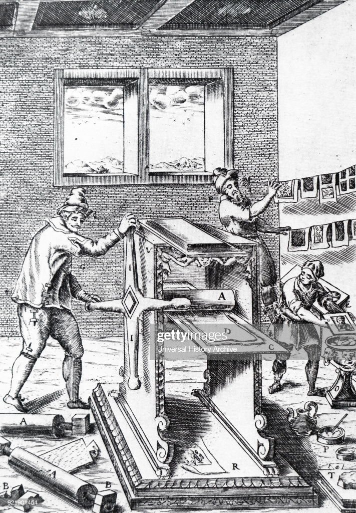 Engraving depicting a copperplate printer. Dated 19th century.