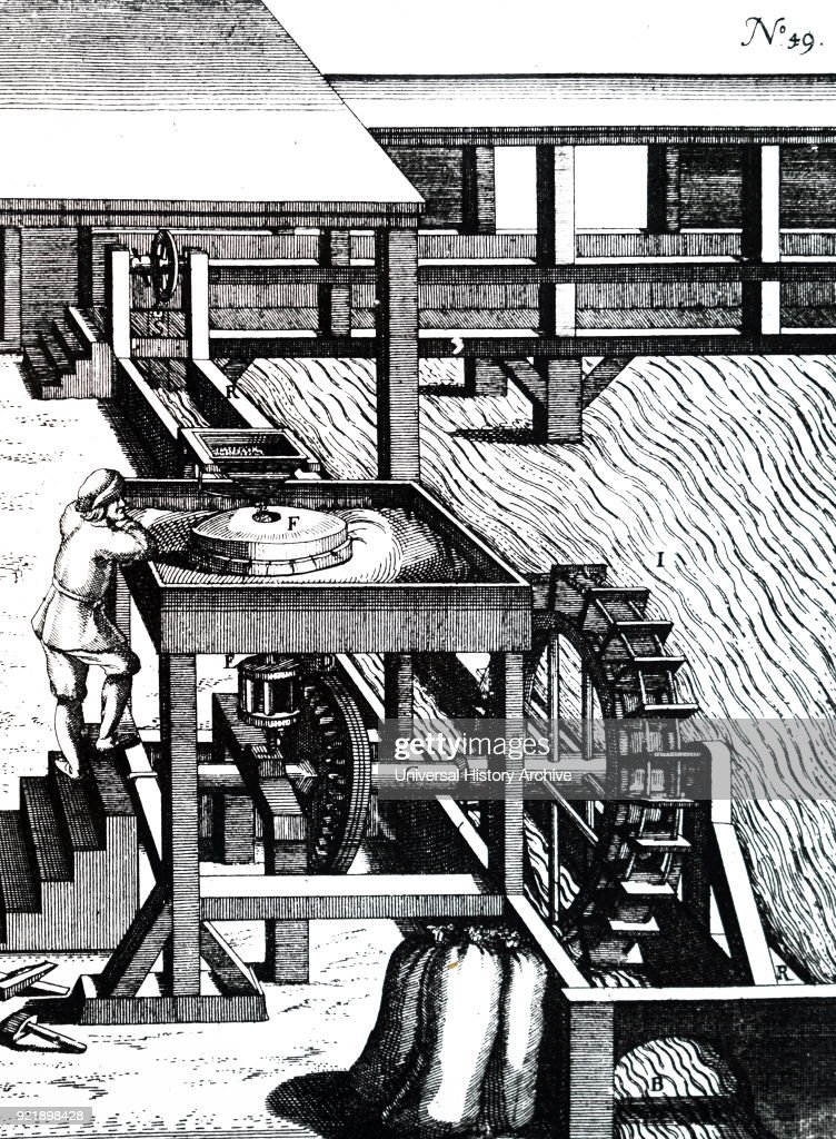 Engraving depicting a corn mill powered by an undershot water wheel. Dated 17th century.