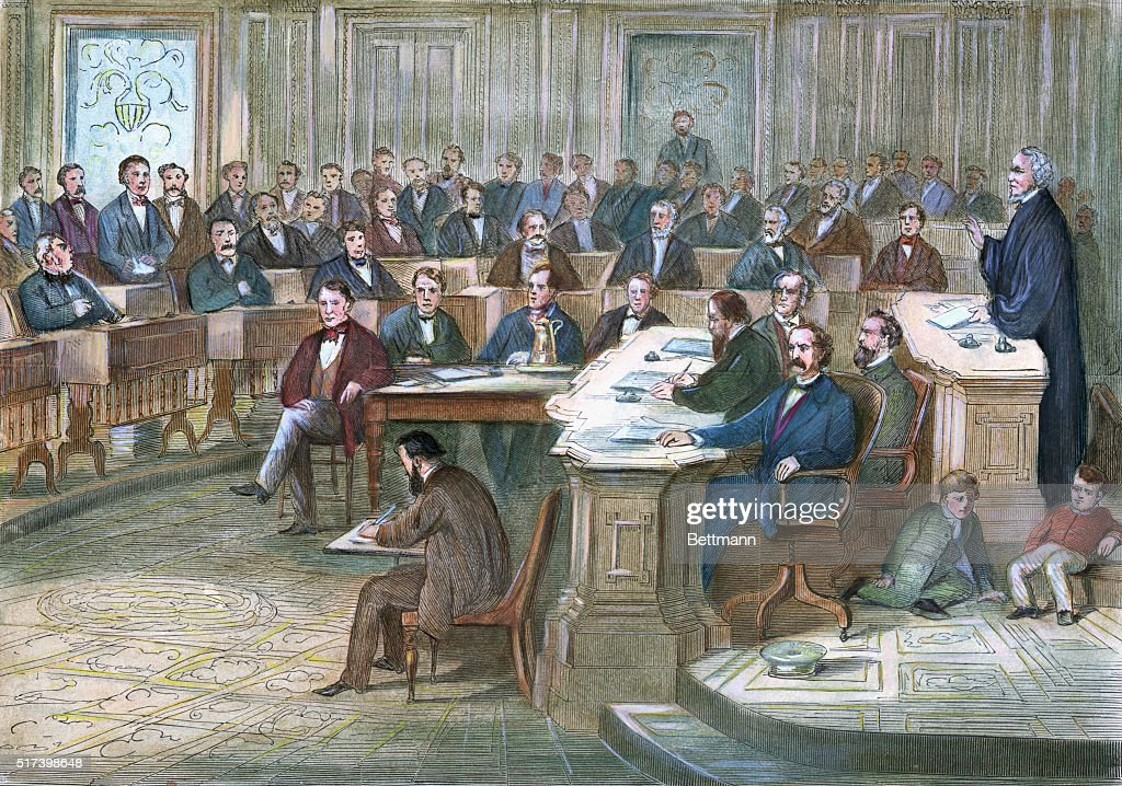 Engraving depicting a courtroom scene during the 1868 impeachment of Andrew Johnson. Undated hand-colored illustration.