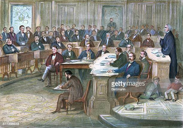 Engraving depicting a courtroom scene during the 1868 impeachment of Andrew Johnson Undated handcolored illustration