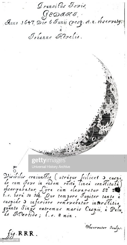 Engraving depicting a crescent moon. Dated 18th century.