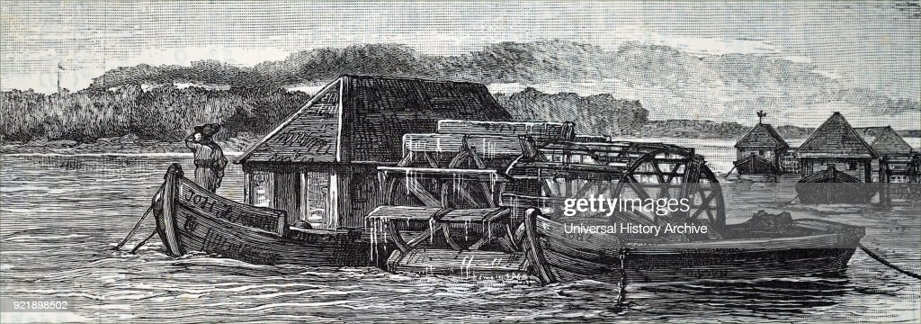 Engraving depicting a current wheel driving a mill on shore. Dated 19th century.