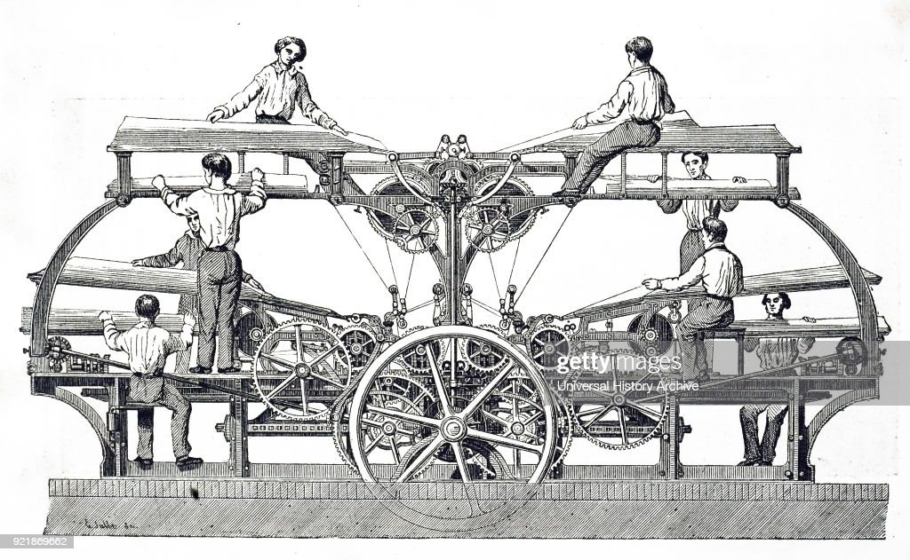 Engraving depicting a cylinder printing press. Dated 19th century.