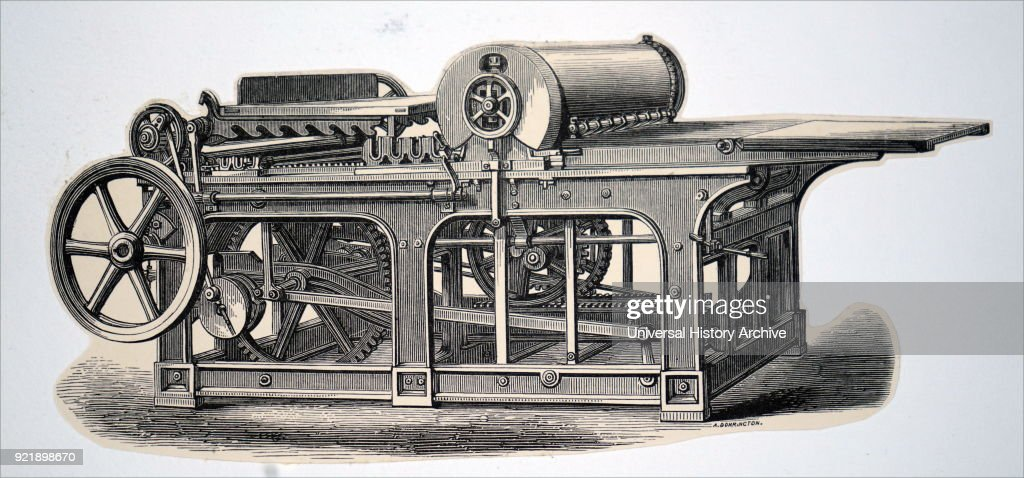 Engraving depicting a cylinder printing press, powered by a steam engine via a belt drive. Dated 19th century.