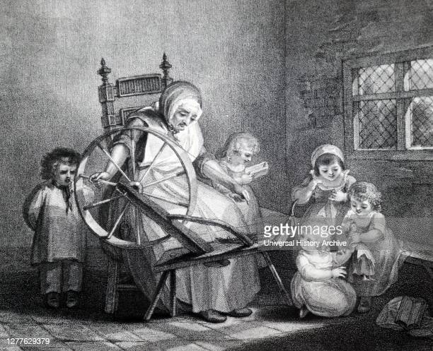 Engraving depicting a 'Dame' school, showing the teacher spinning while supervising the children as they learn to read and sew. Two little girls play...