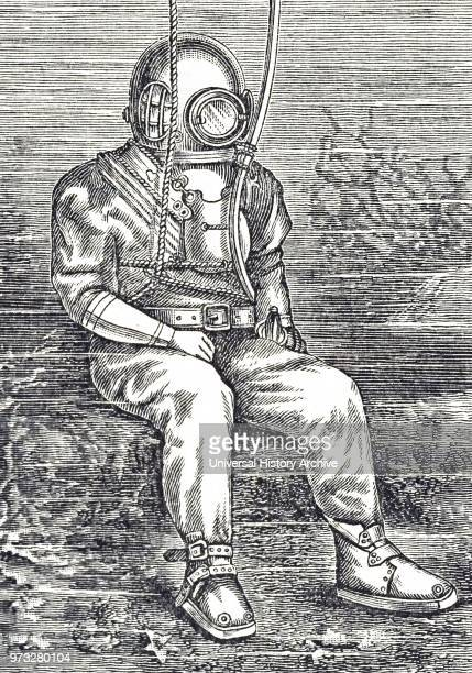 Engraving depicting a diving suit made of strong tanned twill with rubberised collar and cuffs and a tinned copper helmet Dated 19th century