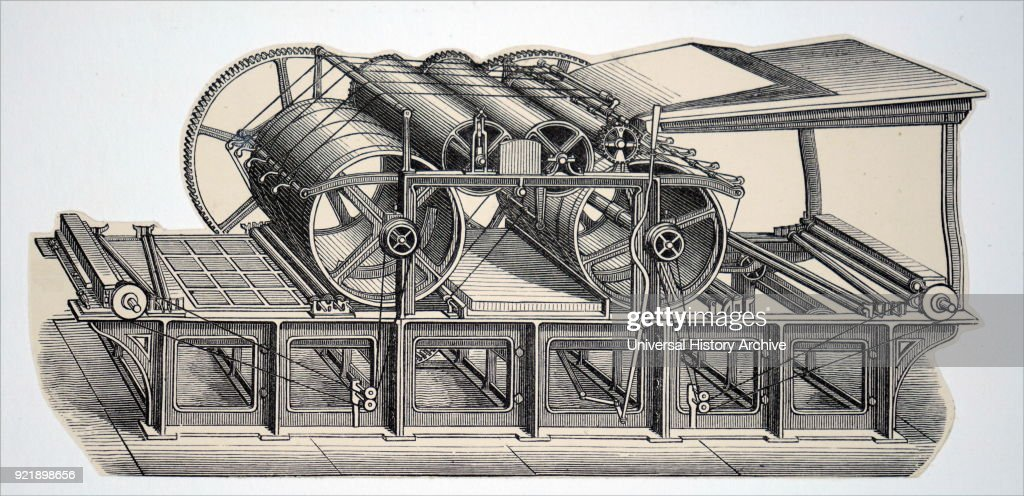Engraving depicting a double cylinder perfecting machine. Dated 19th century.