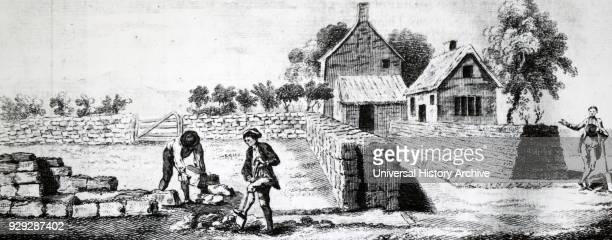 Engraving depicting a farm enclosure Dated 18th Century