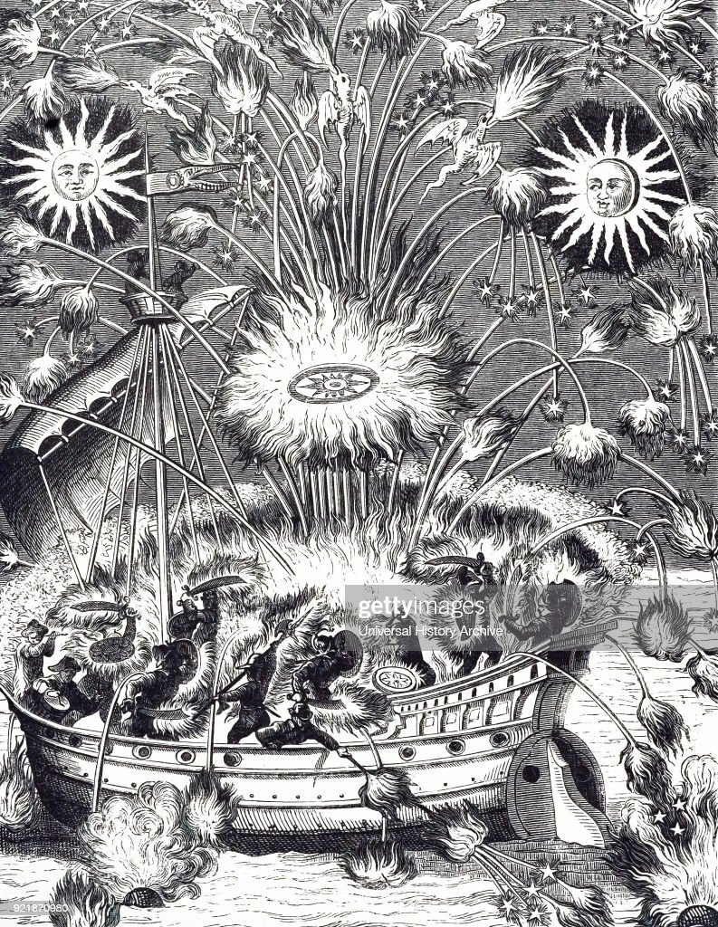 Engraving depicting a firework display in imitation of a naval battle. Dated 17th century.