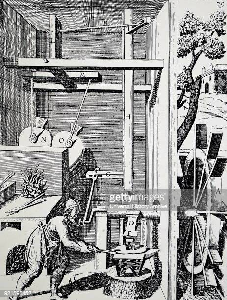 Engraving depicting a forge with bellows and hammer powered by an undershot water wheel Dated 17th century
