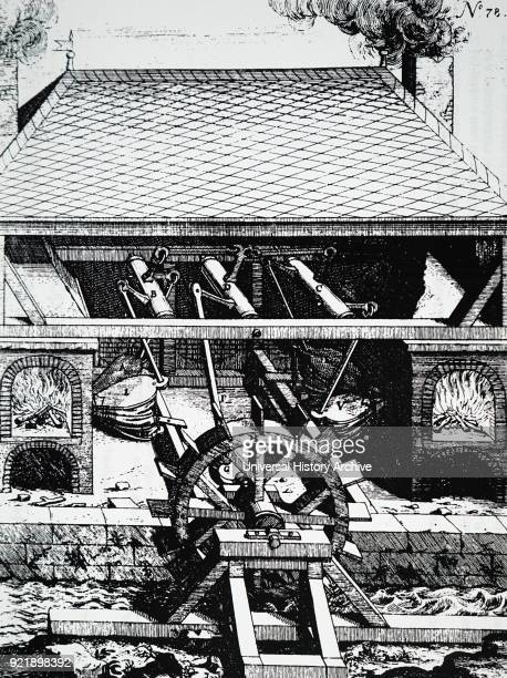 Engraving depicting a Forge with bellows driven by an undershot water wheel Dated 17th century
