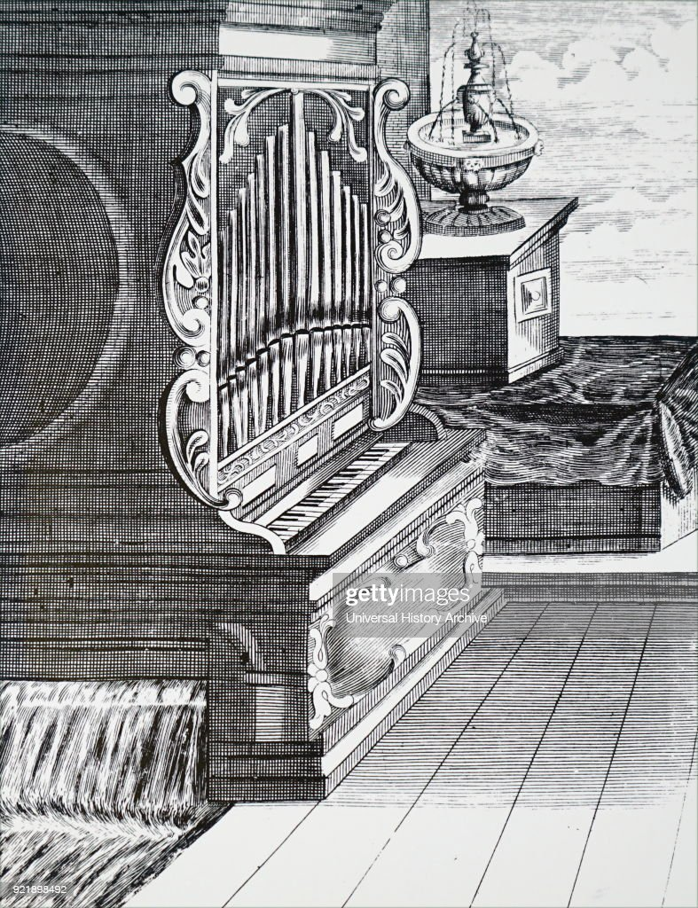 Engraving depicting a fountain and a water-powered organ. Dated 18th century.