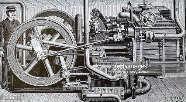 Engraving depicting a freezing machine for ships carrying perishable cargos Dated 19th century