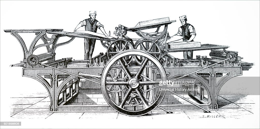 Engraving depicting a French double cylinder book printing press with set-off and paper folding apparatus. Dated 19th century.