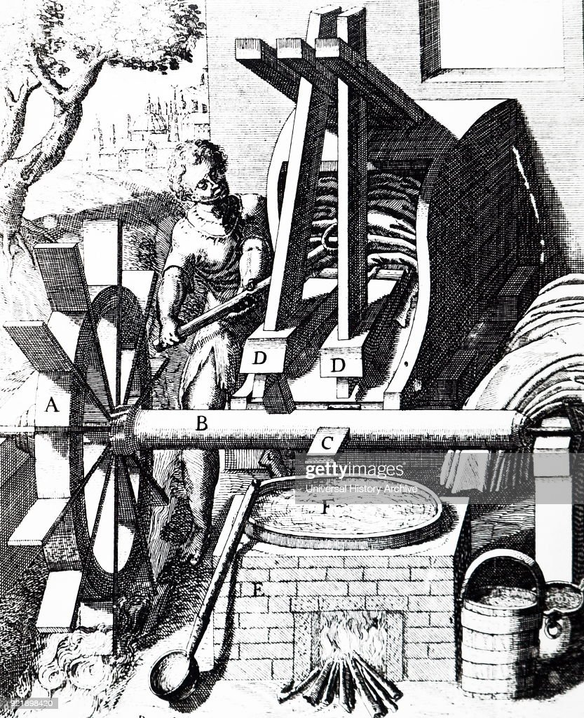 Engraving depicting a fulling mill powered by an undershot water wheel. Dated 17th century.