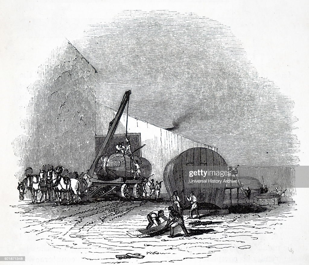 Engraving depicting a general view of a steam boiler works. Dated 19th century.