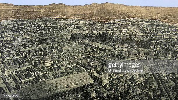 Engraving depicting a General view of Rome during the time of Aurelian