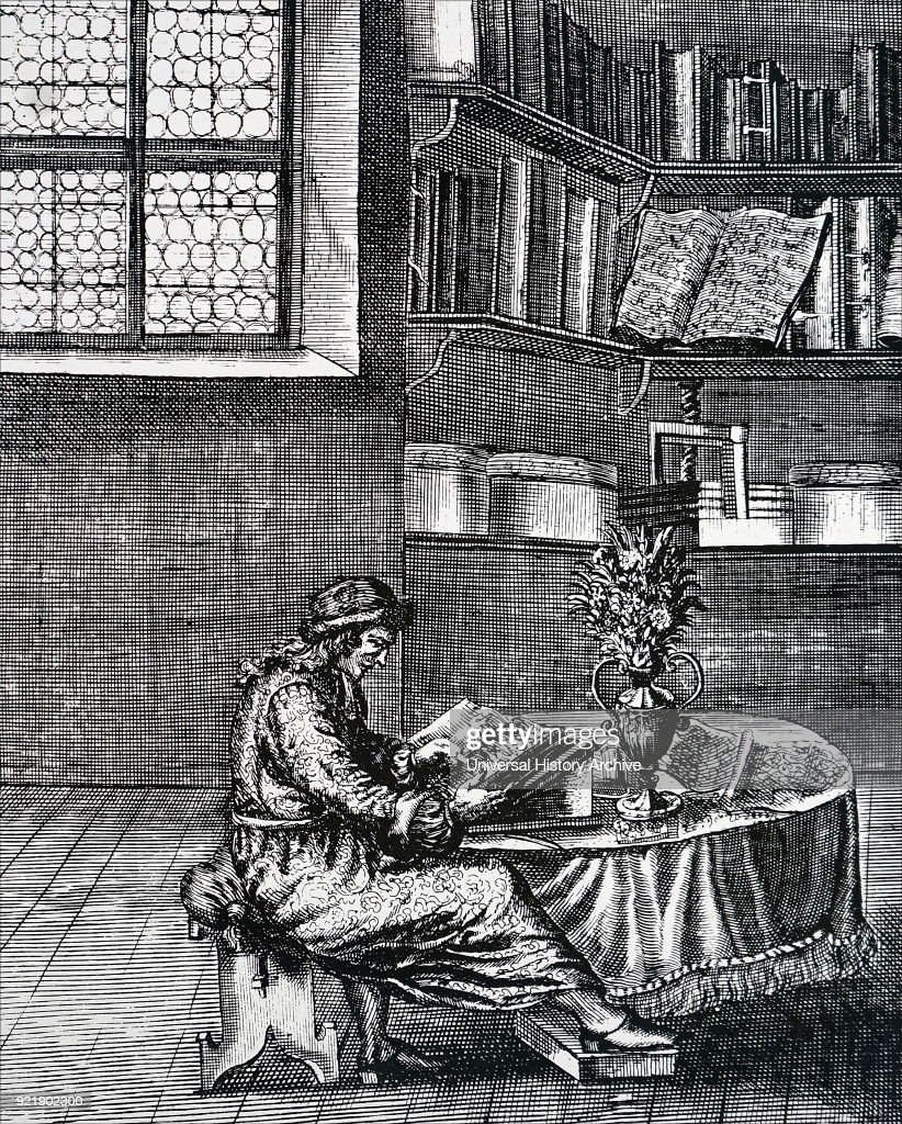 Engraving depicting a gentleman in his library. Dated 16th century.