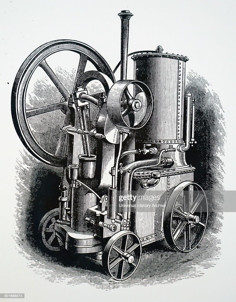 Engraving depicting a Griffin portable petrol engine. Dated 19th century.