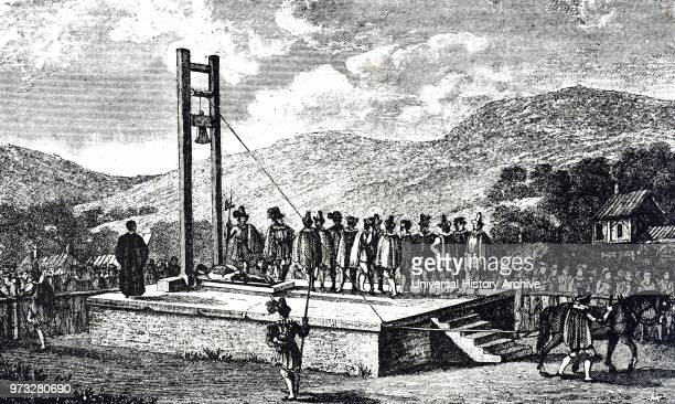 Engraving depicting a Halifax Gibbet an early guillotine or decapitating machine used in the town of Halifax West Yorkshire England Dated 17th century