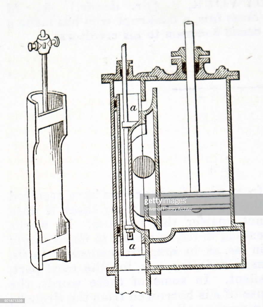 Engraving depicting a hand-powered eccentric butter churn. The agitation of the cream was achieved by the rising and falling of the opposite ends of the churn. Dated 19th century.