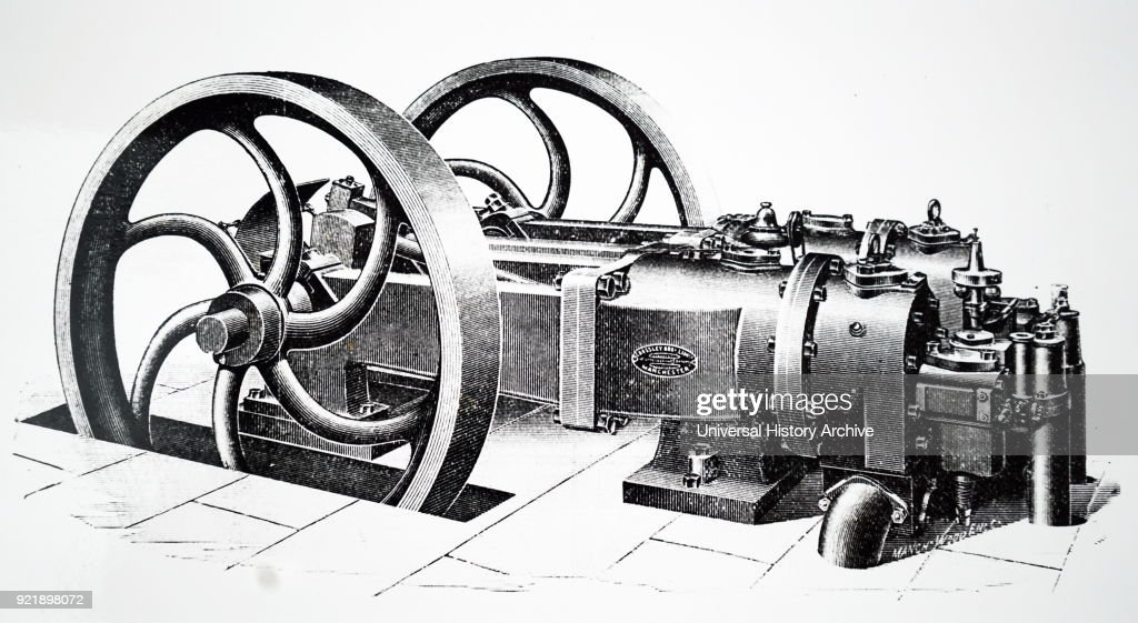 Engraving depicting a horizontal OTTO engine manufactured by Crossley Bros. of Manchester. This engine worked on the OTTO (4-stroke) cycle, and used a mixture of 13 parts of air to 1 part of gas. Dated 19th century.
