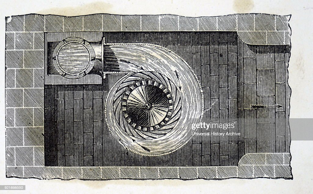 Engraving depicting a horizontal section of Schiele's Turbine. 19th Century.