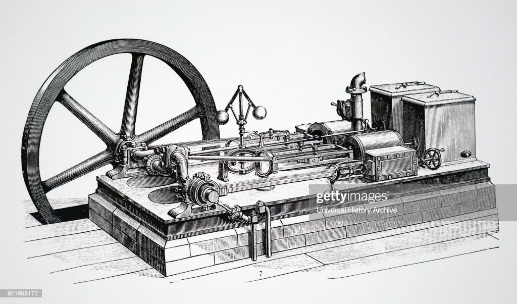 Engraving depicting a horizontal steam engine showing the governor and flywheel. Dated 19th century.