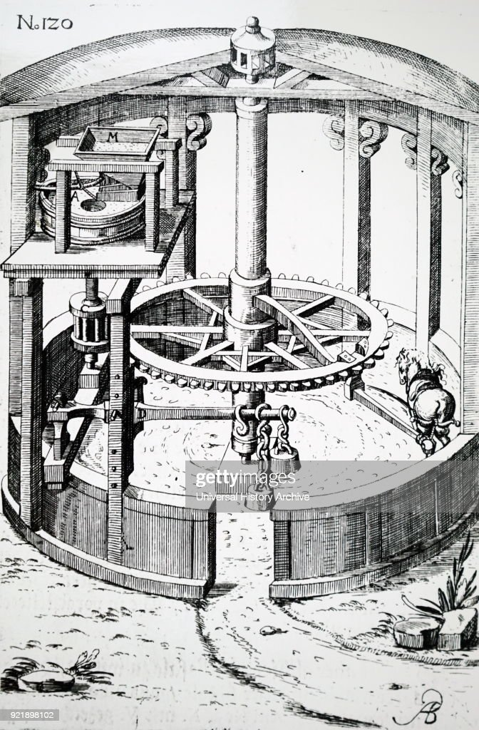 Engraving depicting a horse powered flour mill. Dated 17th century.