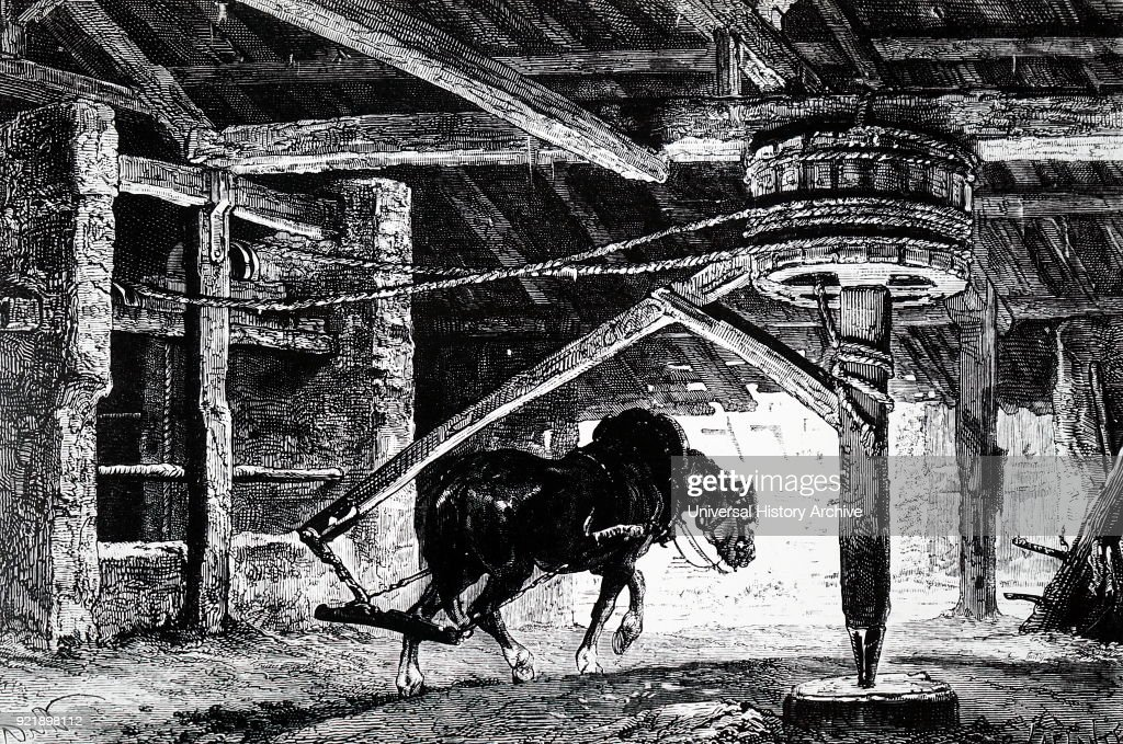 Engraving depicting a horse-whim (or -gin) for raising coal from a mine. Dated 19th century.