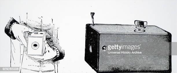 Engraving depicting a Kodak Box Camera which used Eastman negative film roll. George Eastman an American entrepreneur who founded Eastman Kodak...