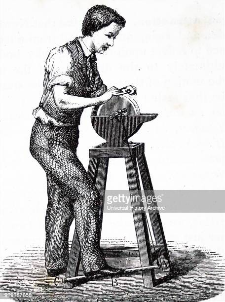 Engraving depicting a lever being applied to a grindstone Fulcrum bolt is at C power is supplied by the foot and the resistance in the motion...