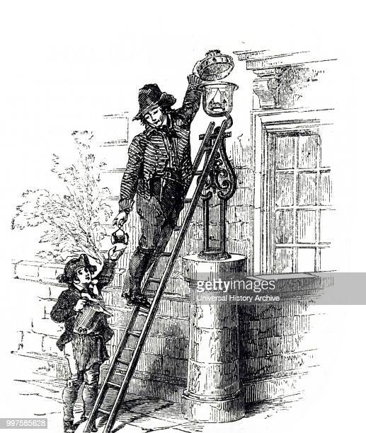 Engraving depicting a London lamplighter and his assistant recharging the reservoirs of oil street lamps Dated 19th century