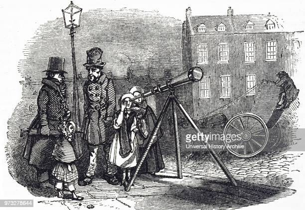 Engraving depicting a London street telescope through which anyone could gaze at the heavens for the payment of a penny Dated 19th century