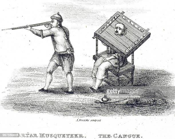 Engraving depicting a man being punished by a cangue a device that was used for public humiliation and corporal punishment Dated 19th century