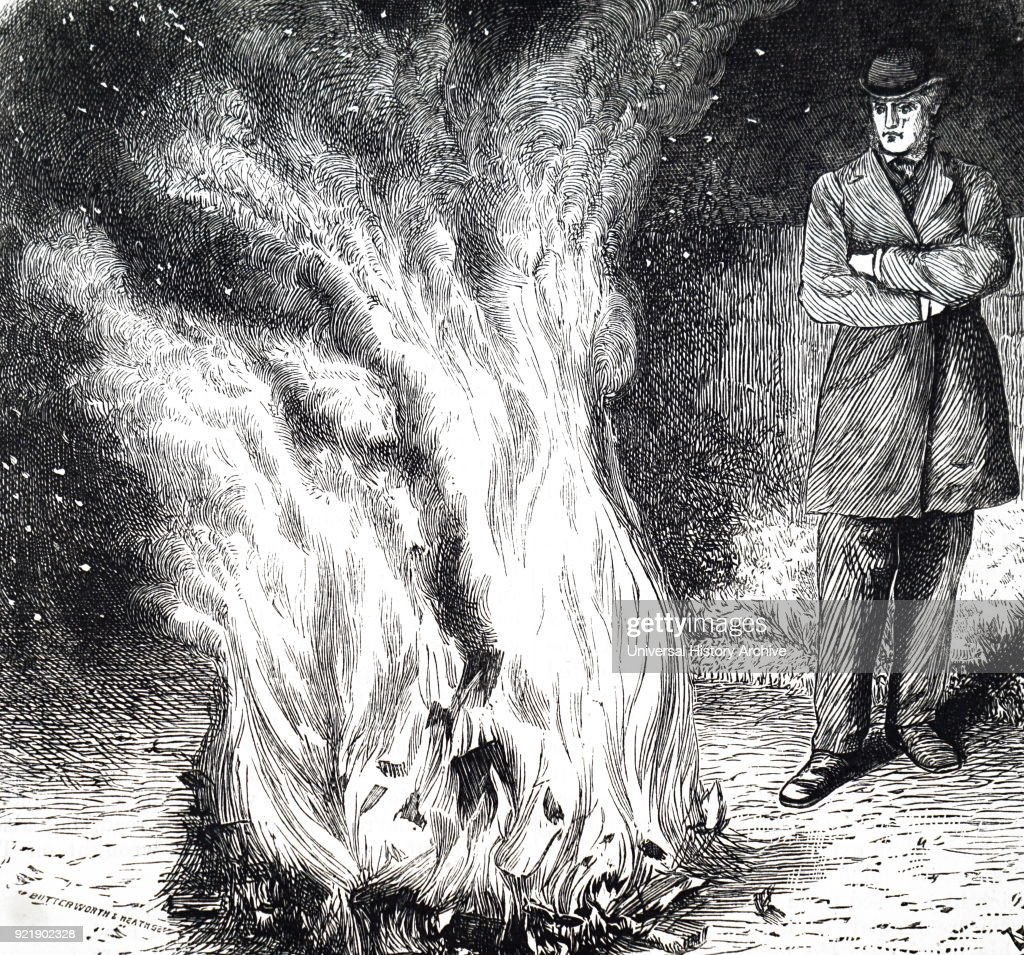 Engraving depicting a man burning books of which he doesn't approve of. Dated 19th century.