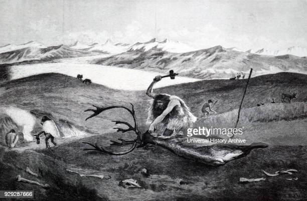 Engraving depicting a man butchering a beast using a flint axe. Dated 20th Century.