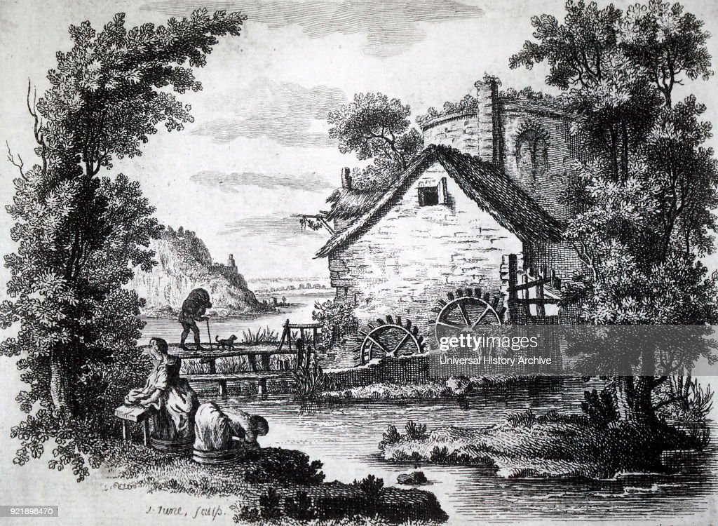 Engraving depicting a man carrying a sack of corn over a wooden bridge to a water-driven mill for it to be ground into flour, while women do the washing on the river bank. Engraved by John June, an English engraver. Dated 18th century.