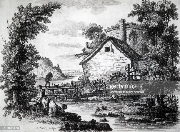 Engraving depicting a man carrying a sack of corn over a wooden bridge to a waterdriven mill for it to be ground into flour while women do the...