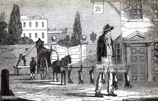 Engraving depicting a man carrying hares and rabbits on a pole The man is able to keep the pole level by holding it slightly nearer the right hand...