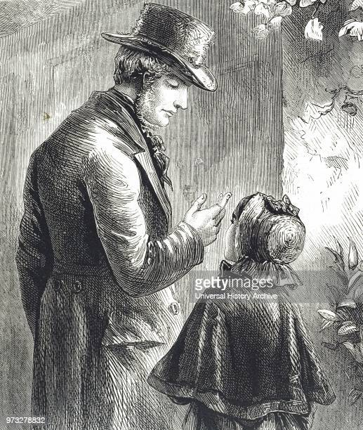 Engraving depicting a man wearing a beaver hat speaking with a little girl wearing a bonnet Dated 19th century