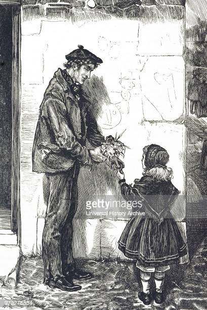 Engraving depicting a man wearing a beaver hat speaking with a little girl wearing a bonnet and shawl Dated 19th century