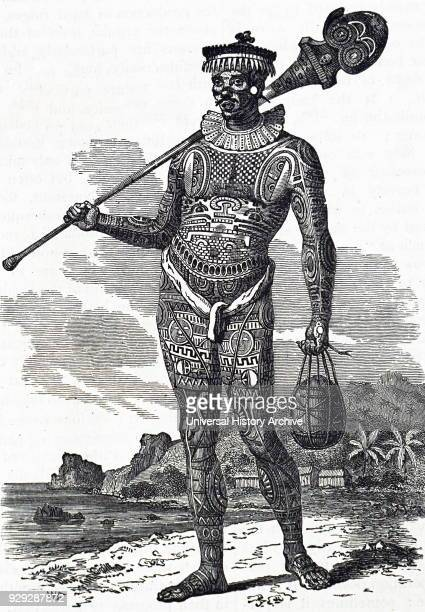 Engraving depicting a Marquesas Islander with a heavily tattooed body The Marquesas Islands are a group of volcanic islands in French Polynesia an...