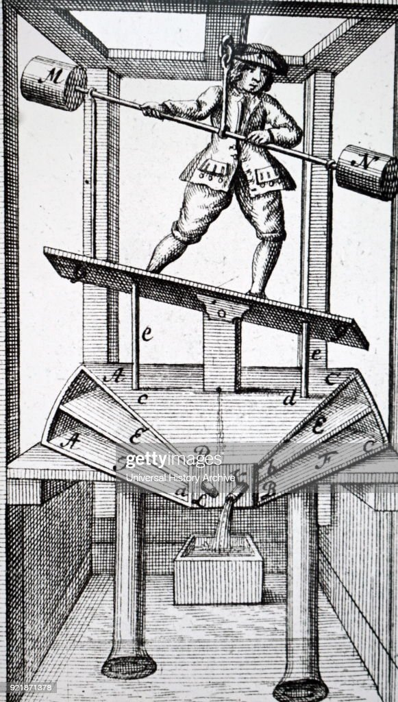 Engraving depicting a mechanical pump operated by feet and hands together. Dated 18th century.
