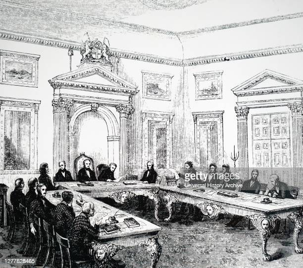 Engraving depicting a meeting of the Court of Directors of the East India Company, East India House.