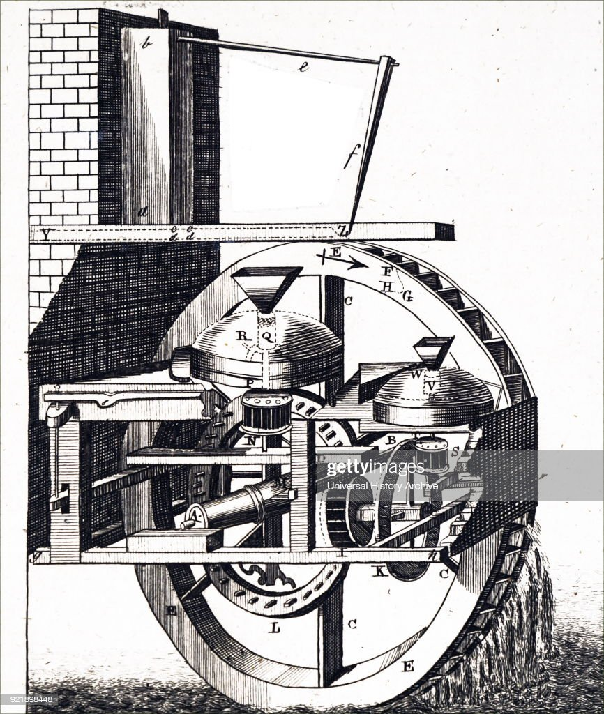 Engraving depicting a mill powered by an overshot water wheel. Dated 18th century.