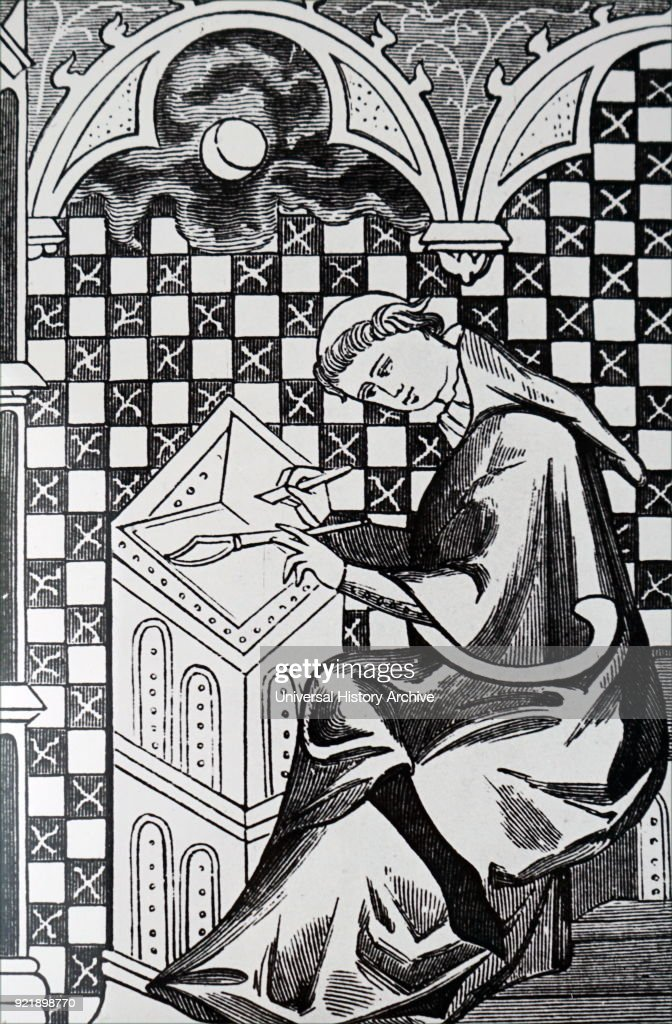 Engraving depicting a monk copying a manuscript. Dated 13th century.